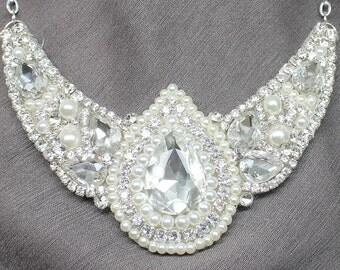 Rhinestone Bridal Statement Necklace- Rhinestones & Pearl Bridal Necklace-Wedding Necklace-Swarovski Necklace-Bridal Jewelry-Pear Rhinestone