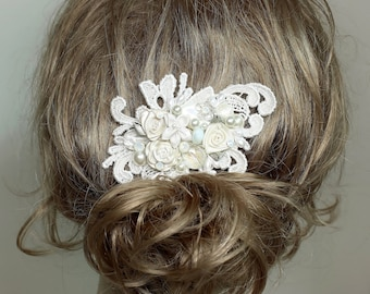 Ivory Bridal Comb-Bridal Hair Accessories- Bridal Hairpiece-Floral Hair Clip-Shimmery Pearl Comb-Floral bridal hairpiece- Ivory wedding comb