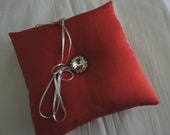 RED Ring Bearer Pillow Silk Shantung with Rhinestone  Button