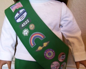 18 Inch Doll Clothes - Junior Girl Scout Sash