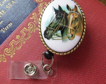 MENS black HORSE Badge Reel retractable ID Card Glasses Holder Teacher Nurse Pony Equestrian