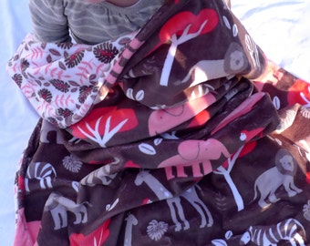 Minky Baby Blanket - Jungle Baby Girl Blanket - Baby Blanket - Jungle Animals Blanket - Hot Pink Baby Blanket - Girl Baby Blanket - Newborn