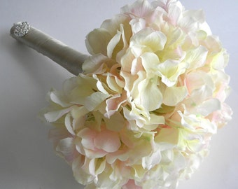 Real Touch Hydrangea Bridesmaid Bouquet in Your Choice of Color- Blush,  White/Cream, Blue, Purple