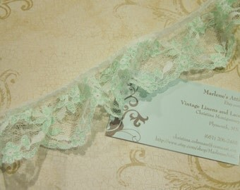 1 yard of 2 inch Mint Green and White Ruffled Chantilly lace trim for garter, wedding, bridal, lingerie, spring by MarlenesAttic - Item WW2
