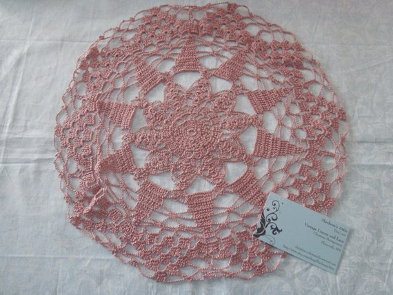 Vintage 13 inch Mauve Pink Hand Crochet Doily for christmas, holiday, housewares, home decor, decorations, valentines by MarlenesAttic