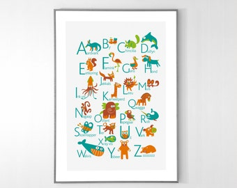 Afrikaans Alphabet Poster with animals from A to Z, BIG POSTER 13x19 inches - Baby Children Nursery Custom Wall Print Poster