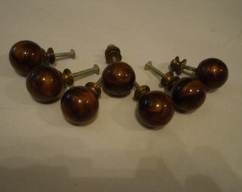7 Vintage Round Brown Marbleized Plastic Drawer Knobs-Cabinet Knobs-Furniture Projects-Supplies-