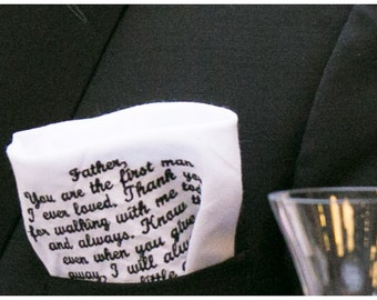 Father of the bride hankie...of all the walks we've taken this one is my ..
