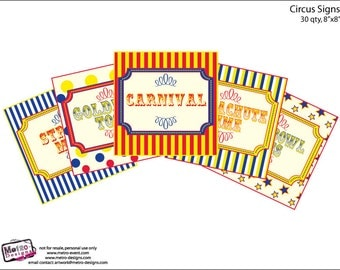 Bright and Fun, Carnival Party Signs