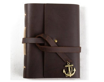 Unique Leather Journal Diary with Vintage Anchor A6 Blank Lined Craft Paper Handmade Small Brown with Gift Box
