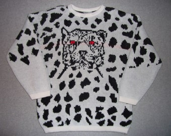 80s 90s 1980s Black White Leopard Print Jungle Fever Cat Evil Eye Sweater Tacky Gaudy Ugly Christmas Party X-Mas Rock Star S Small M Medium
