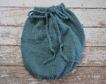 Knitted Newborn Swaddle Sack Blue Soft Photo Prop