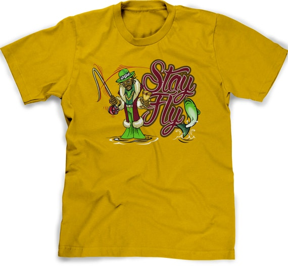 Fly fishing shirt funny fisherman tee stay fly pimp trout fish for Fishing shirts that keep you cool