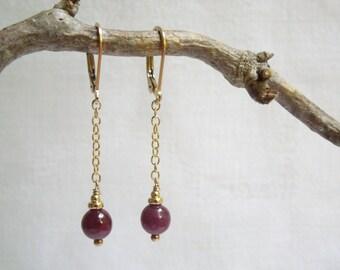 Ruby Drop  Earrings-  Natural Rubies- 14k Gold Filled- July Birthstone