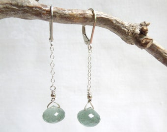 Drop Gemstone Earrings: Moss Aquamarines- Sterling Silver Chain- Nickel Free Sterling Silver Lever Back Ear Wires