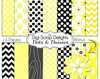 Yellow & Black Dots and Daisies Digital Papers w Polka Dots, Quatrefoil, Chevron. Flower, Instant Download