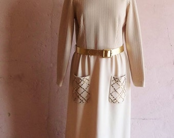 70s vintage women's cocktail maxi dress--antique white ecru ribbed double knit with gold tone studs on pockets--by Leslie Fay--size
