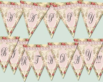 """Printable digital banner """"Happy Birthday"""" for birthday party digital Shabby Chic  printable banner birthday Party Baby pink rose"""