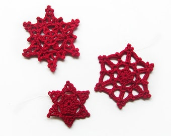 Red Lace Snowflake Ornaments Set of 3 - Ruby Crimson Scarlet Cardinal- Christmas Holiday Decor Classic Traditional Crochet