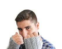 Personalized Grey Men's Gloves Mittens- Men Personalized fingerless gloves Motorcycle Gloves,Personalized Gloves Personalized Fingerless