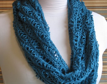 Mobius Cowl Teal Knit Lace Sea Foam Waves Silk
