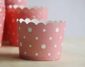 Set of 20 Cake Cup, White Dot Pink Round Paper Muffin Cake Cup, Favor, Gift, Party