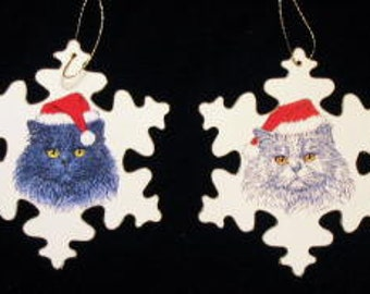 Cat with Santa hat Christmas ornament - 6 styles