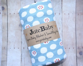 Organic Baby Blanket, Blue with White Dots Baby Blanket, Swaddle Wrap, Baby Swaddle Toddler Blanket by JuteBaby