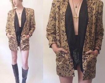 80s Silk Leopard Blazer