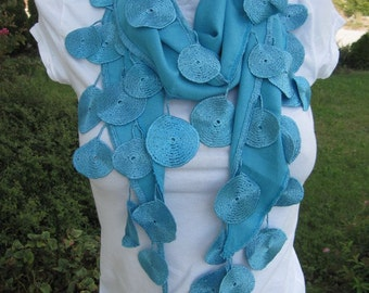 Women's scarves-Turquoise blue or white pashmina scarves chic lace Fringe Scarf/Turkish/Cowl/Women's Fashion Accessories Gift Ideas For Her