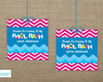Pool Party Birthday - Pool Party Favor Tags - Pool Party Printable - Swim Party Printable - Chevron Birthday - Beach Birthday Party