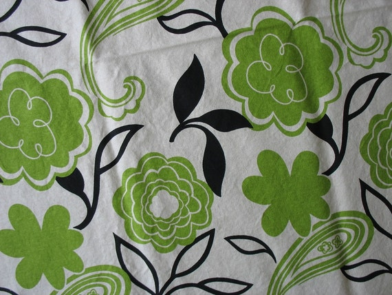 Cotton Home Decor Fabric Bold Green Floral Black Leaves on