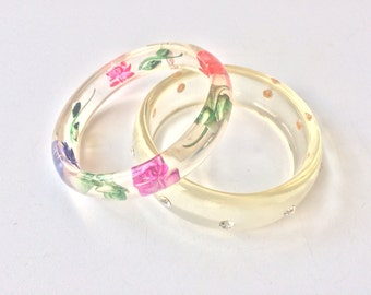 Lucite Bangles, Painted reverse carved Lucite Flowers, Lucite Rhinestone Bangle, Pair Vintage Bangles
