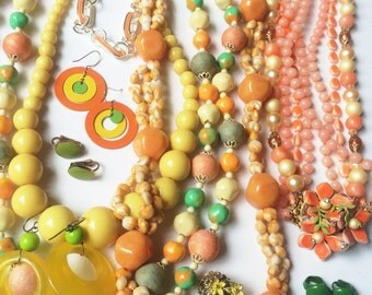 Fun Citrus Fruit Color Vintage Jewelry Lot- Wear, Upcycle, Assemblage, Vintage Haskell Style Necklace, Retro Earrings