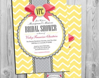 Monogram and Mimosa Bridal Shower Invitation   Printable Monograms and Mimosas Invite   Red Yellow Chevron   Games and Party Decor Available