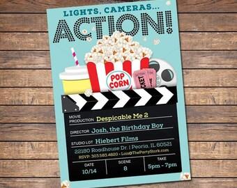 Movie Invitation for Boys, Movie Birthday Invitation, Boy Movie Party Invites