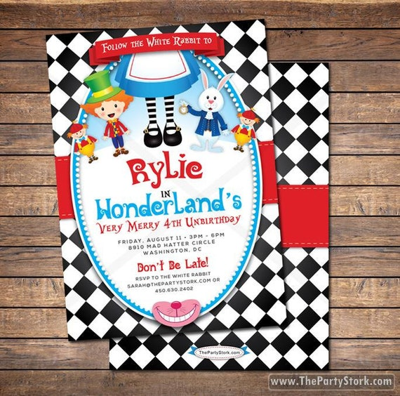 Alice And Wonderland Birthday Invitations Best Printable
