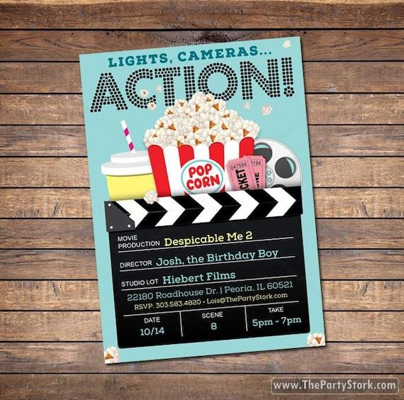 Movie Invitation for Boys Movie Birthday Invitation Boy Movie