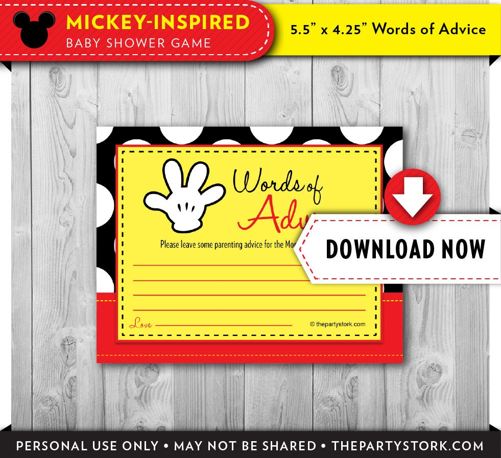 mickey baby shower games advice cards printable mickey mouse