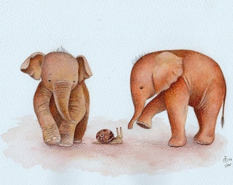 ORIGINAL PAINTING Curious Baby Elephants