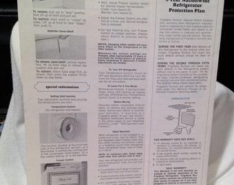 Vintage Frigidaire Frost Proof Refrigerator Freezer Instructions 1960's
