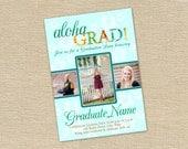 Hawaiian Luau Three Photo Graduation Announcement or Party Invitation - Printable