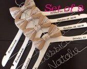 Set of 9 Personalized Hanger,  Custom Bridal Hangers,Bridesmaids gift, Wedding hangers with names,Custom made hangers