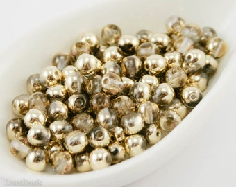 5mm Gold Beads, 50pc Czech round glass