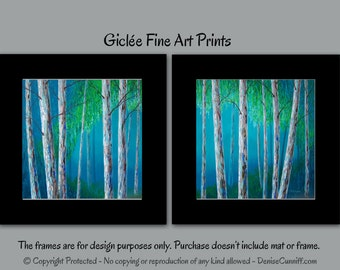 Birch tree art print set, Contemporary wall art, Blue and green artwork, Teal home decor, Bedroom, Fine art print, Landscape, Modern, Aspen