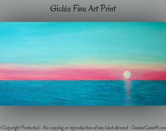 Large wall art, Seascape painting - Giclee fine art print, Beach decor, Teal home decor, Aqua turquoise coral red, Sunset artwork, Tangerine