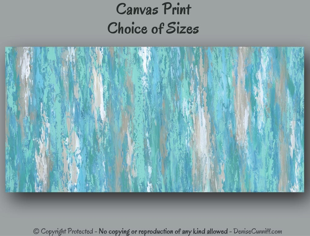 Large wall art teal aqua abstract painting canvas art for Teal wall art