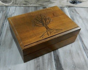 Vintage Ring Box Up-cycled with a Winter Tree carved on the lid.  Felt is in good shape.