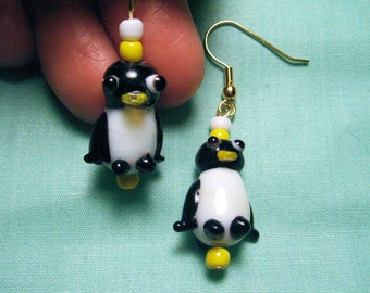 Black & White Penguin Earrings Cute Jewelry Statement Earrings Cool Gifts for Her Handmade Earrings Lamp Work Glass Jewelry Gifts for Girls
