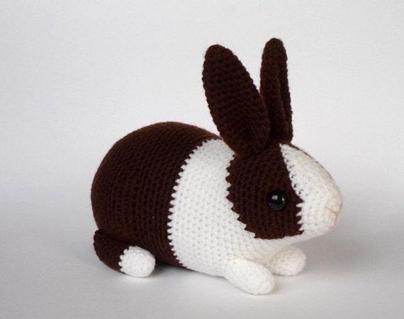 Free Crochet Dutch Rabbit Pattern : Dutch rabbit crocheted toy chocolate/white